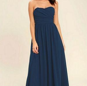 🌿BOGO FREE: LULUS Navy Strapless Dress
